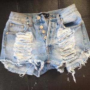 Mink pink ripped jean shorts